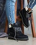 Зимние женские ботинки T1mberland 6 inch синие с натуральной овчиной 36-40р. Реплика, фото 5