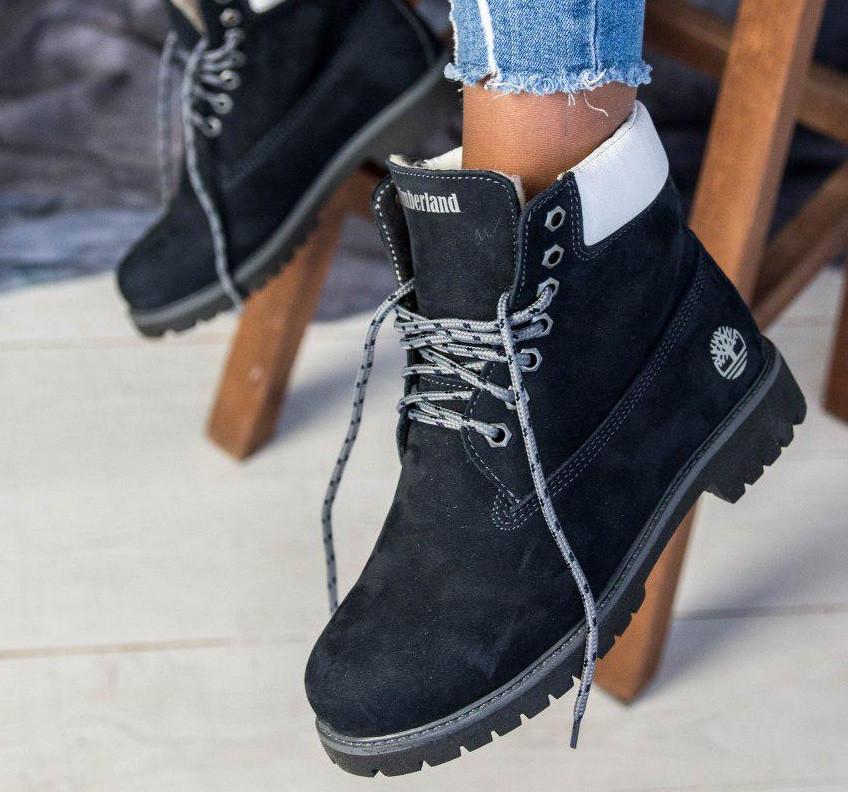 Зимние женские ботинки T1mberland 6 inch синие с натуральной овчиной 36-40р. Реплика