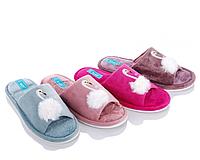 Велюровые тапочки для дома с открытым носком в цветах