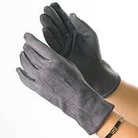 Женские перчатки из искусственной замши № 19-1-34-3 серый S