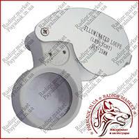 Лупа ручная ювелирная c LED подсветкой, 30Х, диам-25мм MG21011