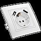 """Розетка одинарная встроенная белая с заземлением и двумя USB серия  """"ЭЛЕГАНТ"""", фото 2"""