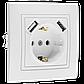 """Розетка одинарная встроенная белая с заземлением и двумя USB серия  """"ЭЛЕГАНТ"""", фото 6"""
