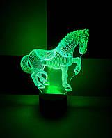 3d-светильник Лошадь, лошадка, 3д-ночник, несколько подсветок (батарейка+220В)