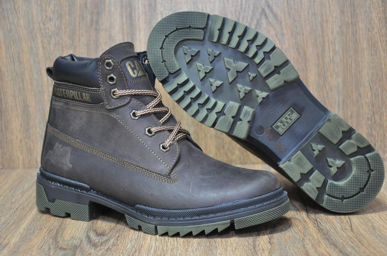 Зимние мужские ботинки натуральный нубук и натуральный мех в стиле Caterpillar