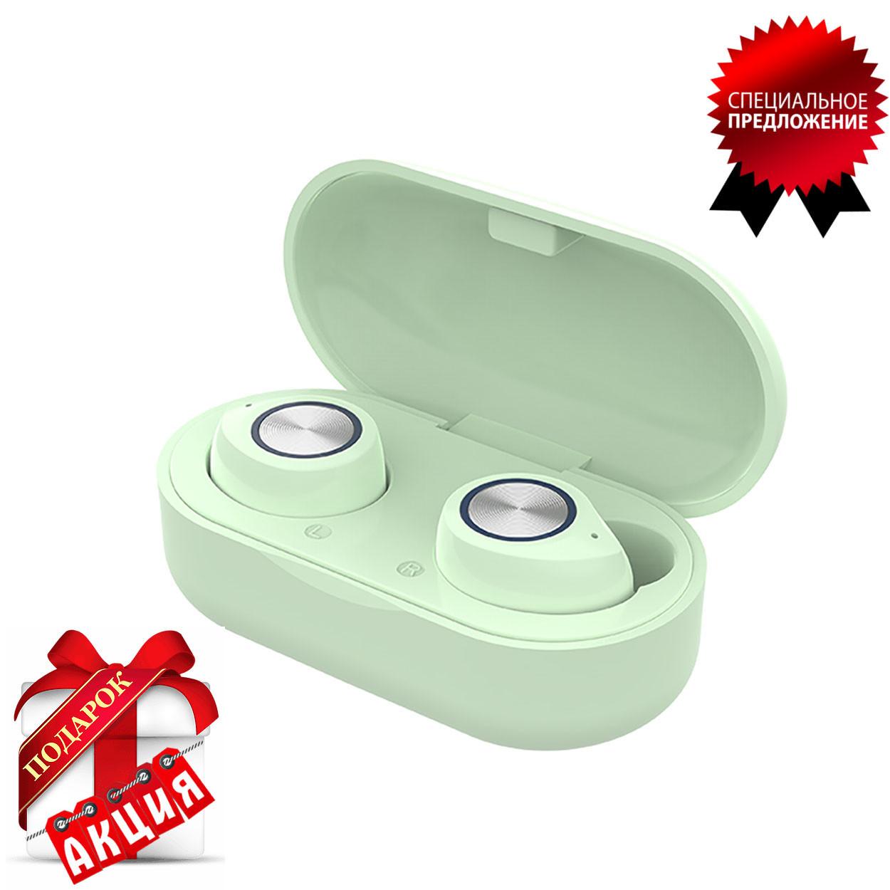 Наушники беспроводные блютуз гарнитура Bluetooth наушники 5.0 Wi-pods TW60. Зеленые