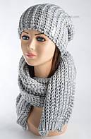 Комплект шапка и шарф Кай светло-серый