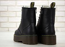 Женские ботинки Dr.Martens Black mat JADON кожа, ЗИМА черные. ТОП Реплика ААА класса., фото 3