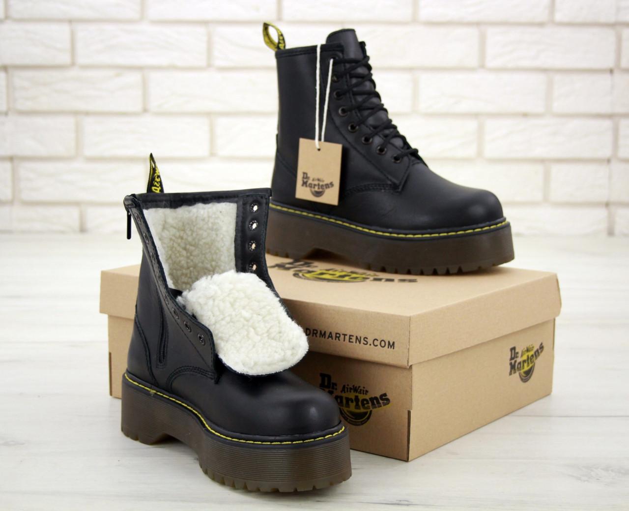 Женские ботинки Dr.Martens Black mat JADON кожа, ЗИМА черные. ТОП Реплика ААА класса.