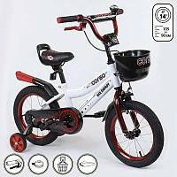 Велосипед Corso двухколесный с дополнительными колесами и корзиной R179234