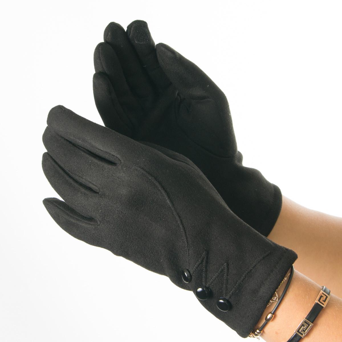 Женские перчатки из искусственной замши № 19-1-34-4 черный S
