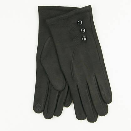 Женские перчатки из искусственной замши № 19-1-34-4 черный S, фото 2