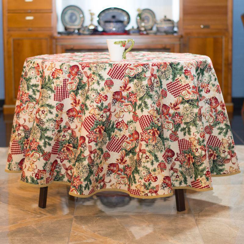 Скатерть гобеленовая Новогодняя с люрексом Испания Villa Grazia Premium Новогодняя феерия d180 см