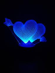 3d-светильник Сердца со стрелой, 3д-ночник, несколько подсветок (батарейка+220В), романтический подарок