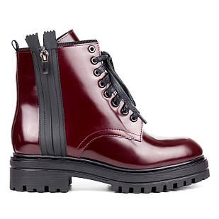 Бордовые женские ботинки 36-40 Woman's heel в стиле Мартинс изготовлены из натуральной кожи