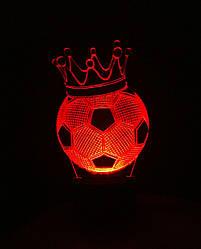 3d-світильник Футбольний м'яч з короною, 3д-нічник, кілька підсвічувань (на пульті)