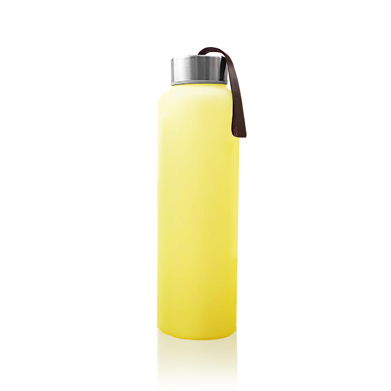 Стеклянная бутылка для воды с силиконовой защитой Everyday Baby 400мл. Цвет желтый