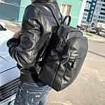 Мужской кожаный рюкзак черный, фото 4