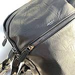 Мужской кожаный рюкзак черный, фото 5