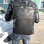 Мужской кожаный рюкзак черный, фото 6