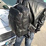 Мужской кожаный рюкзак черный, фото 7