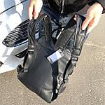Мужской кожаный рюкзак черный, фото 8