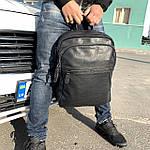 Мужской кожаный рюкзак черный, фото 2