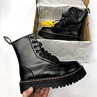 Женские зимние ботинки Dr Martens Jadone Black Доктор Мартинс черные с мехом реплика