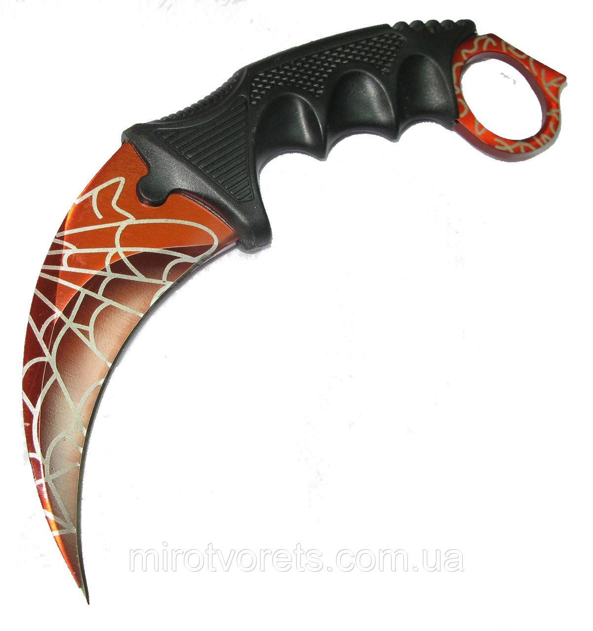 Нож керамбит CS GO красный с паутиной