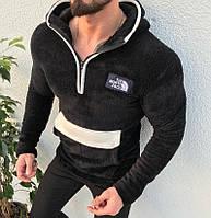 Мужская кофта кенгуру The North Face с капюшоном мягкая черная. Живое фото