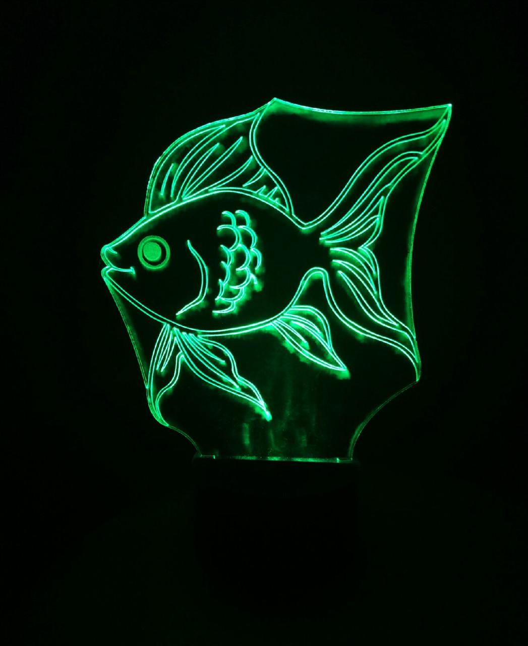 3d-светильник Золотая рыбка, 3д-ночник, несколько подсветок (на батарейке), подарок рыбаку аквариумисту