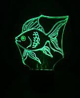 Ночник Золотая рыбка, 3d лампа светильник, разные подсветки Модель А (7 цветов+батарейка)