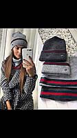 Классический женский набор шапка и хомут.Разные цвета