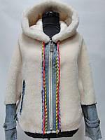 Шубка из овечьей шерсти с капюшоном комбинированная с джинсой  цвет-бежевый длина 65см 46р 48р 50р 52р