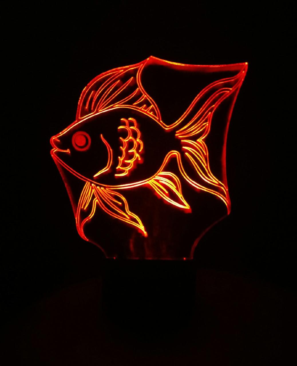 3d-світильник Золота рибка, 3д-нічник, кілька підсвічувань (на пульті)