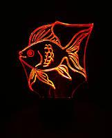 Ночник Золотая рыбка, 3d лампа светильник, разные подсветки Модель В (20 цветов+пульт)