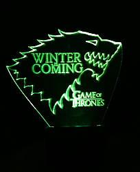 3d-светильник Дом Старков (Игра престолов Game of Thrones), 3д-ночник, несколько подсветок (батарейка+220В)