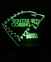 3d-світильник Будинок Старков (Гра престолів, Game of Thrones), 3д-нічник, кілька підсвічувань