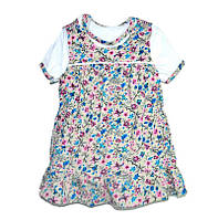 Комплект ясельный сарафан и футболка в цветочек 92 размер R180417
