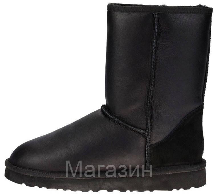 Женские угги UGG Classic Short Leather Black, короткие угги угг австралия оригинал с пропиткой черные