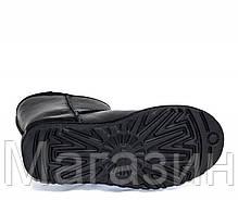 Женские угги UGG Classic Short Leather Black, короткие угги угг австралия оригинал с пропиткой черные, фото 3