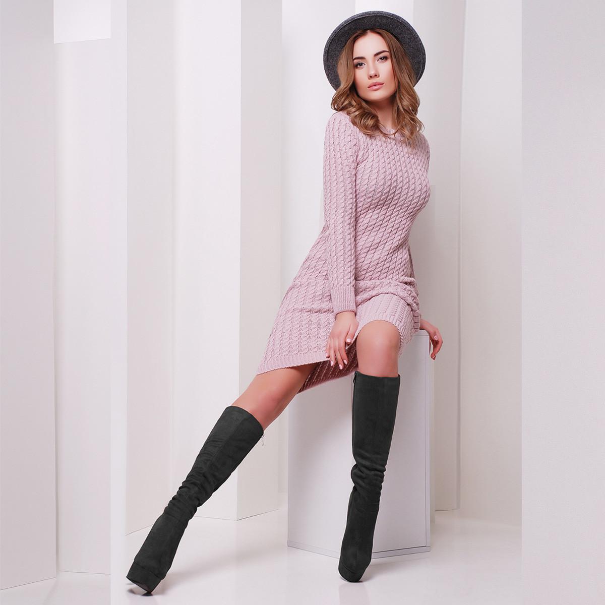 "Пудровое платье вязаное теплое ""Аурика"""