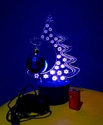 3d-світильник Ялинка, 3д-нічник, кілька підсвічувань (батарейка+220В)