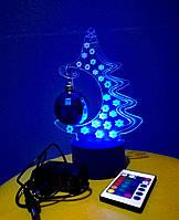 3d-светильник Елка, 3д-ночник, несколько подсветок (на пульте)