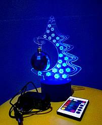 3d-светильник Елка, 3д-ночник, несколько подсветок (на пульте), подарок на новый год
