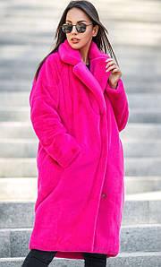 Яркая розовая эко шуба женская размеры S, M, L