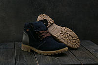 Подростковые ботинки замшевые зимние синие Braxton 397 zsi