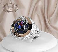 """Серебряное кольцо с золотыми пластинами и синим опалом """"Катрин 2"""""""