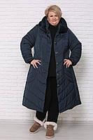 / Размеры 60.62.64.66.68.70.72 / Женская удлиненная зимняя куртка больших размеров / цвет морская волна