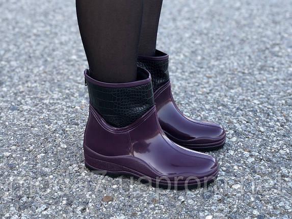 Женские резиновые сапоги, полу сапоги с утеплителем фиолетовые, фото 2